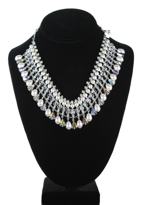 Swarovski crystal and pearl glamour necklace made of sterling silver. make a statement - this choker to collar is stunning. as seen in manhattan bride magazine