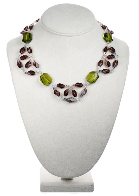 Scalloping Colored Crystal Necklace - Botanical