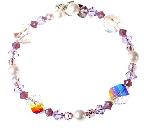 Pearl and Purple Alexandrite Bracelet - June Birthstone