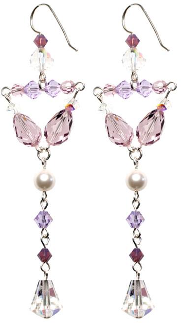 Lavender and Pearl Divine Earrings - June Birthstone