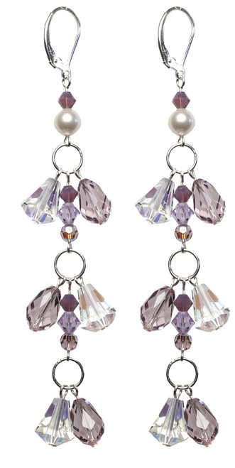 Lavender Crystal Shoulder Duster Earrings - June