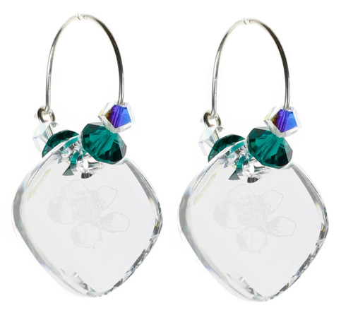 Clear & Emerald Green Hoop Earrings - May Birthstone