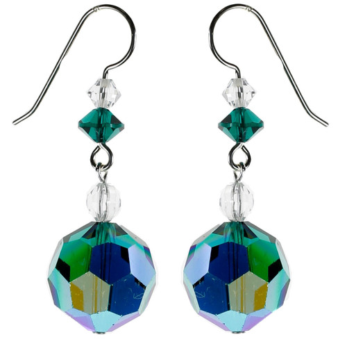 Emerald Green 14mm Vintage Swarovski Earrings - May