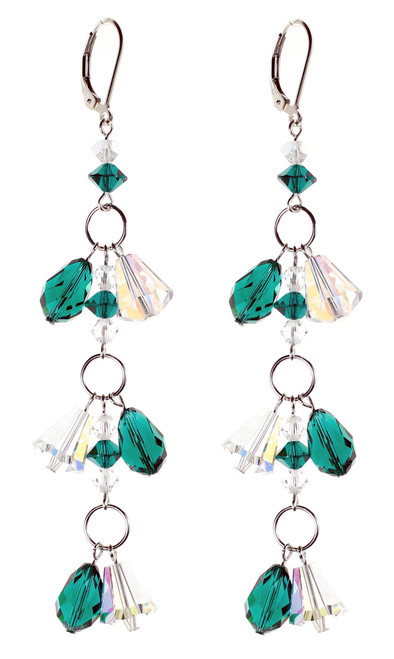 Emerald Green Shoulder Duster Earrings - May Birthstone