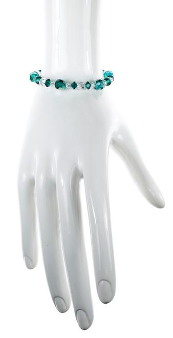Green & Clear Bangle Bracelet - May Birthstone