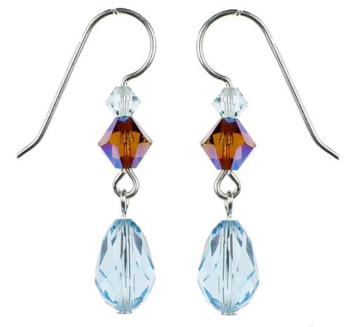 Sterling Silver Swarovski Crystal Aqua Blue Dangle Earrings - Seaside Jewelry