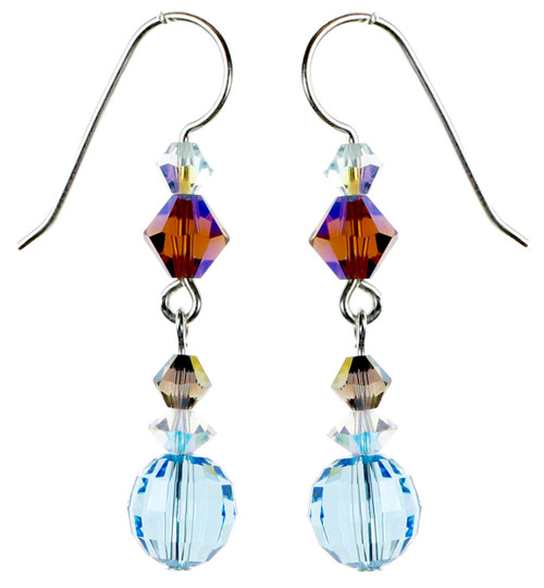 Faceted Round Aqua Crystal Earrings - Seaside Jewelry
