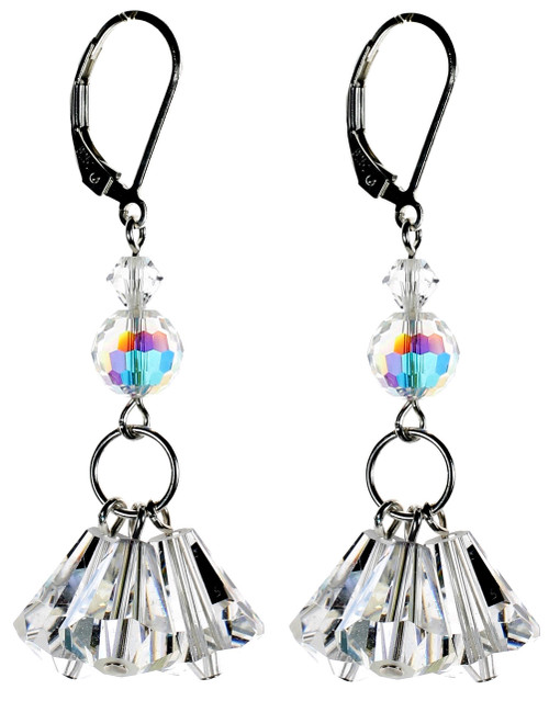 Crystal Triple Drop Earrings Sterling Silver - April