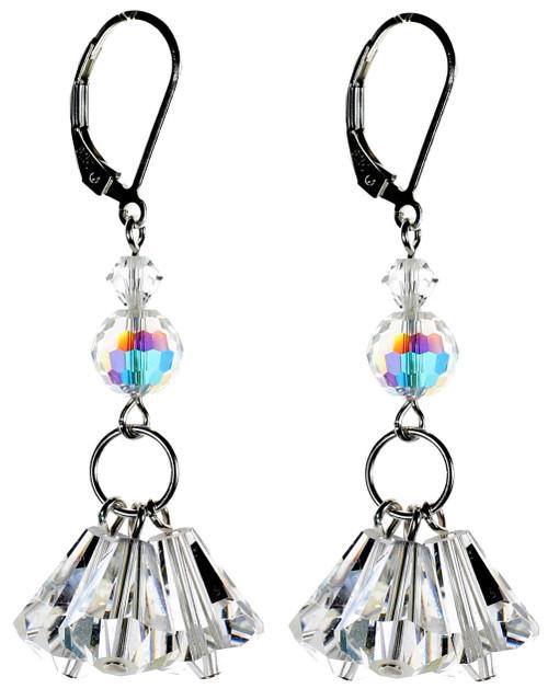 Crystal Triple Drop Earrings Sterling Silver - April