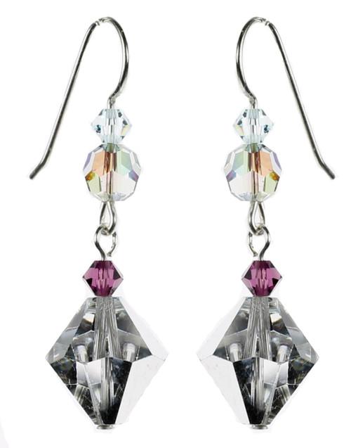 Vintage Silver Coated Clear Crystal Earrings - Seaside