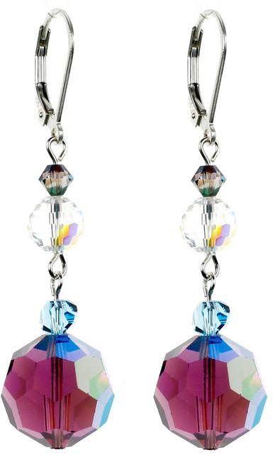Rich Purple Crystal Dangle Earrings - Seaside