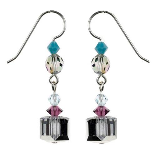 Sterling Silver Swarovski Crystal Square Earrings - Seaside Jewelry