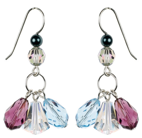 Purple and Aqua Blue Crystal Earrings by Karen Curtis