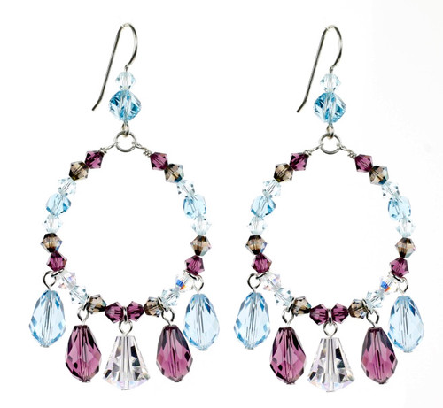Fun Crystal Earrings with Blue and Purple Swarovski Crystal and Sterling Silver