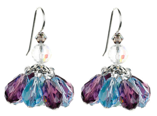 Crystal Earrings made with Purple and Blue Swarovski Crystal in a Short Chandelier like Earring