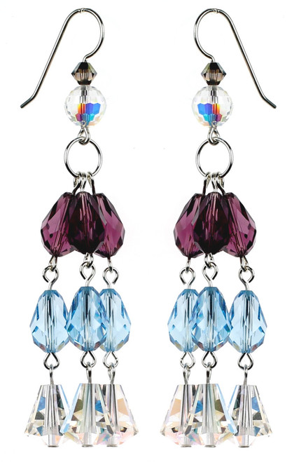 High End Crystal Earrings made with Rare Purple and Blue Swarovski Crystal