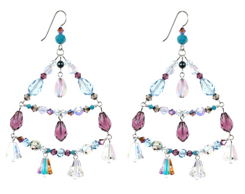 Big Crystal Chandelier Earrings. Rare Swarovski Crystal from the 1950's and Sterling Silver.