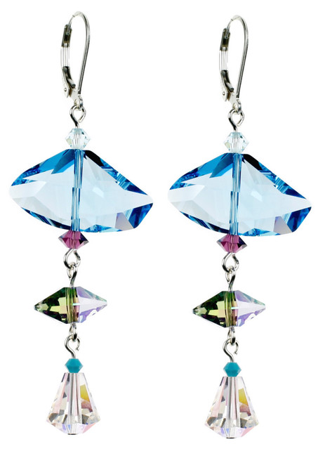 Large Blue Swarovski Crystal Earrings on hypoallergenic Sterling Silver by Karen Curtis NYC