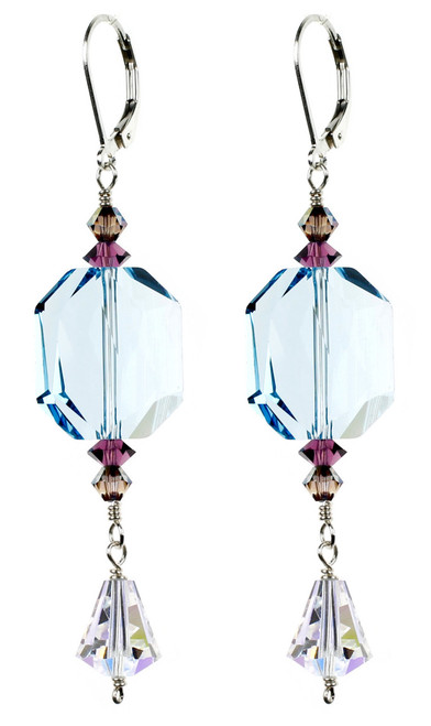 Big Aqua Blue Crystal Earrings made with Rare Crystals from Swarovski and Sterling Silver