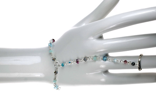New Crystal Hand Chain Bracelet that attaches from a rig to around your wrist!