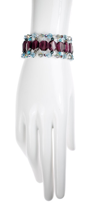Large Purple Crystal Cuff Bracelet