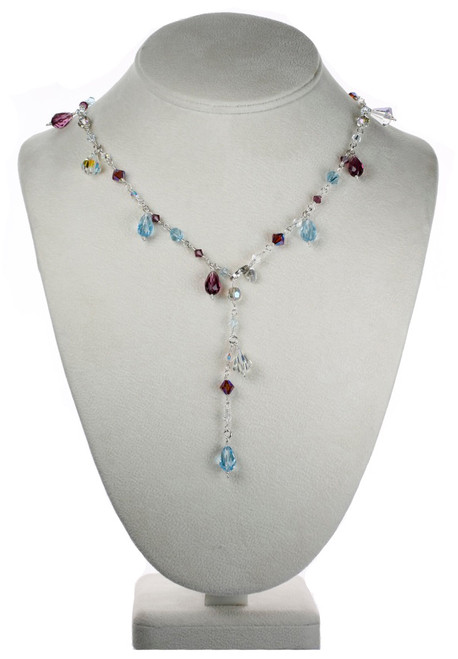 Delicate Crystal Necklace with Rare Swarovski Beads and Sterling Silver