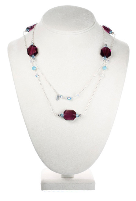 Crystal Necklace with Sterling Silver Chain.  Hand made in NYC by Karen Curtis.