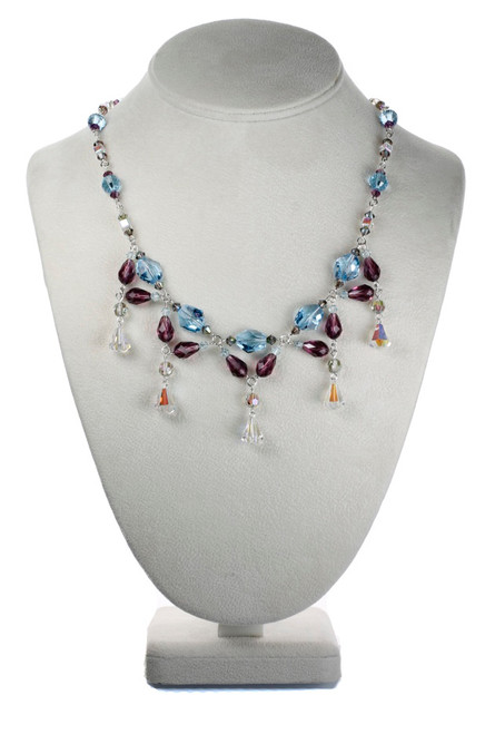 Hand made Designer Crystal Necklace made with Swarovski Crystal and Sterling Silver
