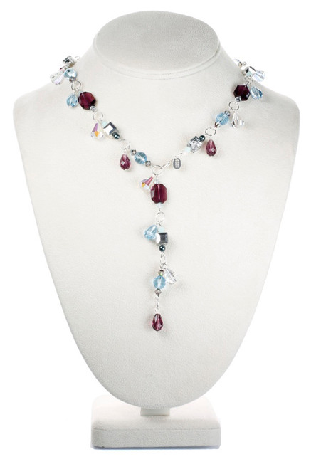 Y style Crystal Necklace with Purple Amethyst and Aqua Blue Swarovski.