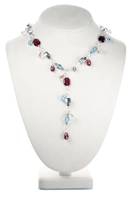 Y style Crystal Necklace with Purple Amethyst and Aqua Blue Swarovski.