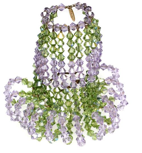 Crystal Candelabra Light Bulb Covers - Peridot & Violet