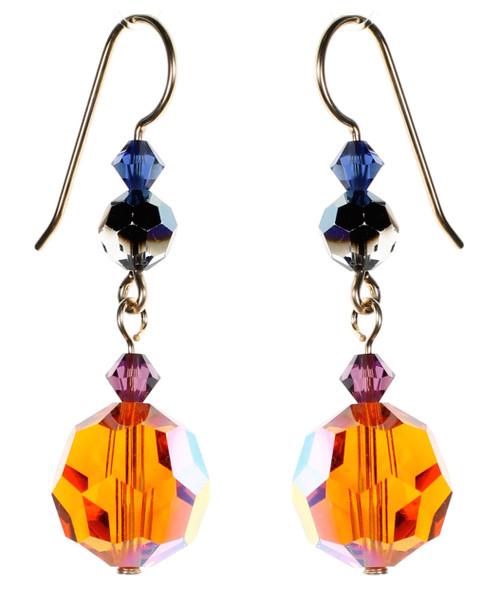 Orange Crystal Earrings - City Nights