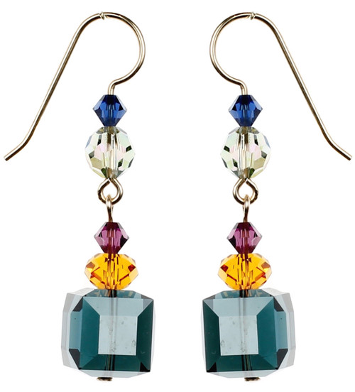 Blue Cube Crystal Earrings - City Nights