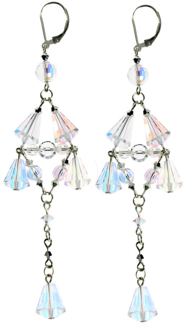 SWAROVSKI crystals and sterling silver combine to create these fantastic long drop earrings by the Karen Curtis company in NYC.