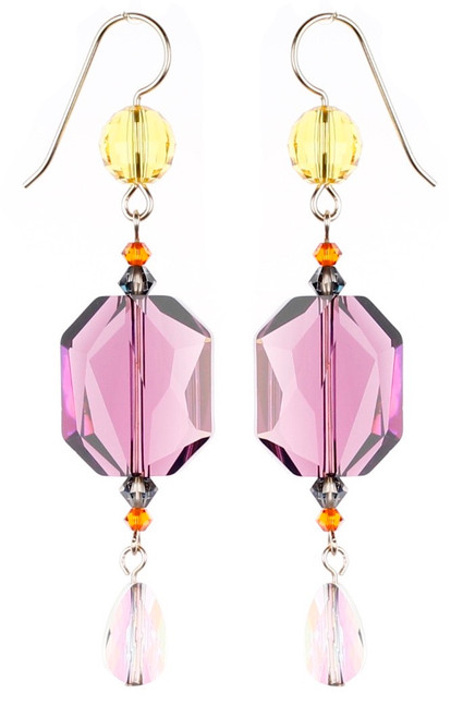 Purple Statement Earrings - City Nights