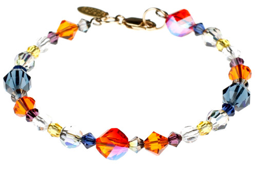 Swarovski Crystal, 14K gold filled metal and memory wire Bracelet.