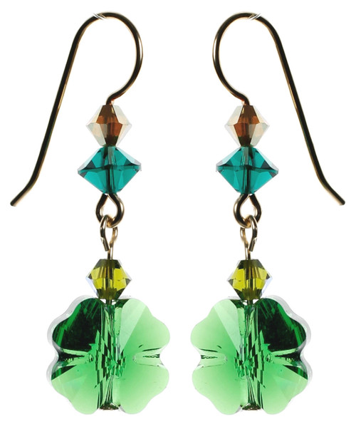 Green Shamrock Crystal earrings made with 14k gold filled ... Crystals from Swarovski by designer karen curtis