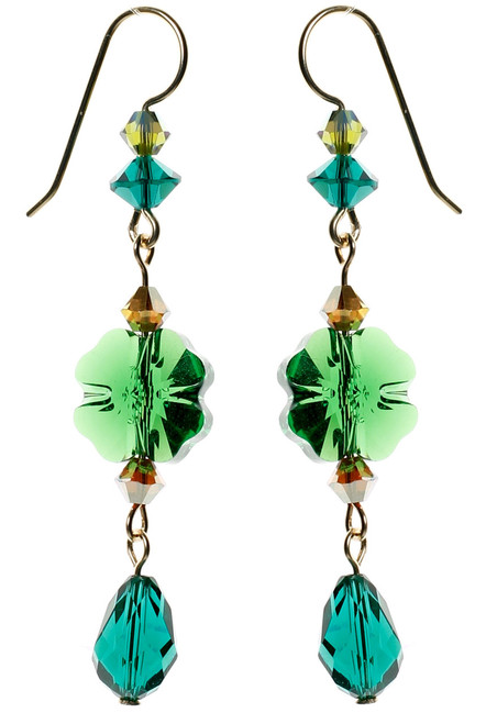 Emerald green Swarovski Crystal shamrock earrings for st Patrick's day. Four leaf clover earrings made with gold filled metal