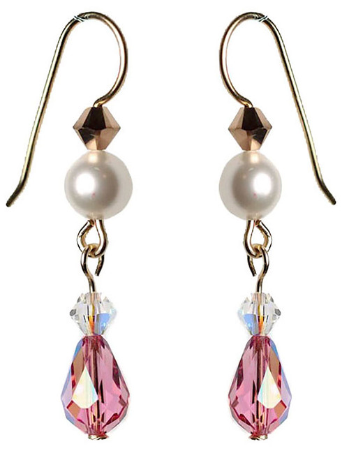 Pink crystal droplet earrings handmade with 14K gold filled metal