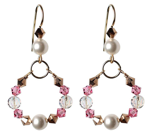 Round crystal earrings made with gold and Swarovski crystal