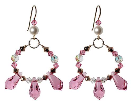 Pink Spikey Crystal Earrings