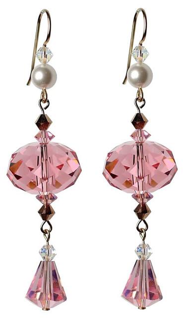 Vintage Swarovski Pink Crystal Earrings