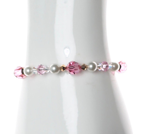 Pink Crystal and pearl bracelet