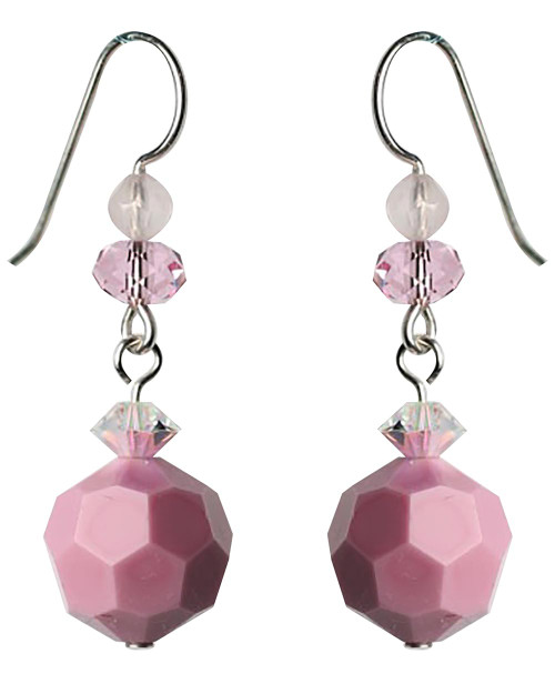 Opaque Pink Vintage Swarovski Drop Earrings