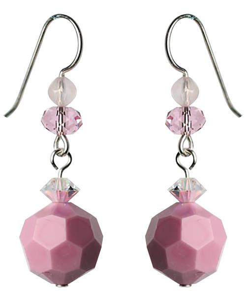 Opaque Pink Vintage Swarovski Drop Earrings