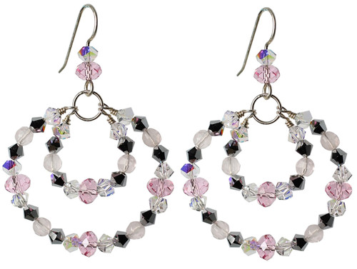 Double Hoop Pink and Silver Crystal Earrings