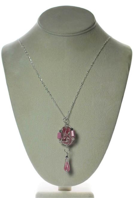 Pink Vintage Swarovski Crystal Cluster Necklace