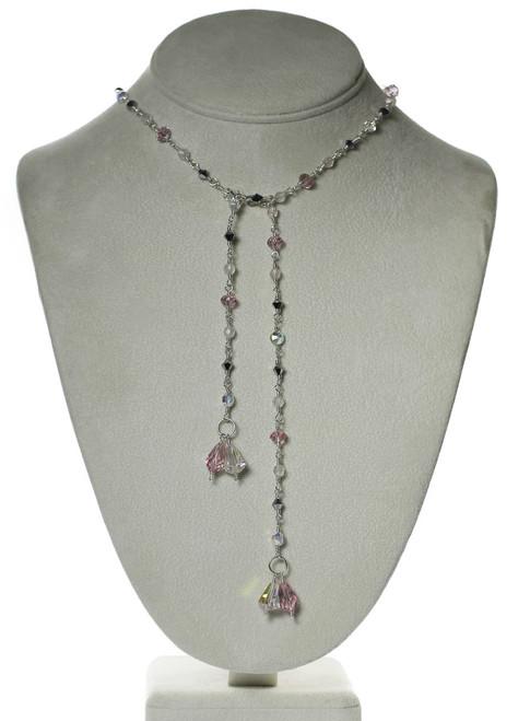 Pink Crystal Lariat Tie Necklace