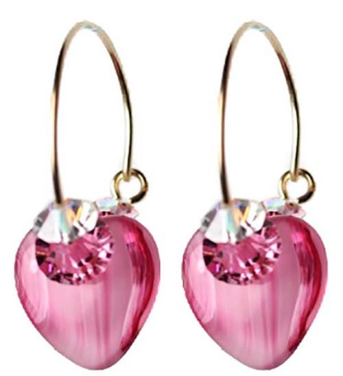 Glass heart hoop earrings