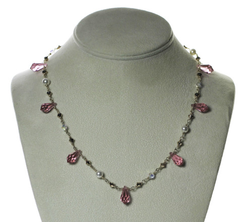Pink Spiked Crystal Necklace on Gold